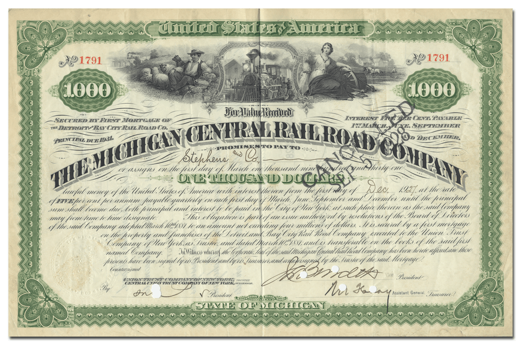 Michigan Central Rail Road Company Bond Certificate