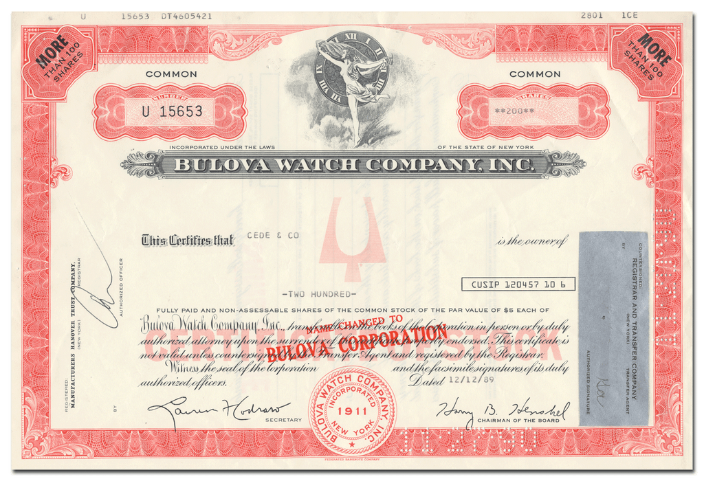 Bulova Watch Company, Inc. Stock Certificate
