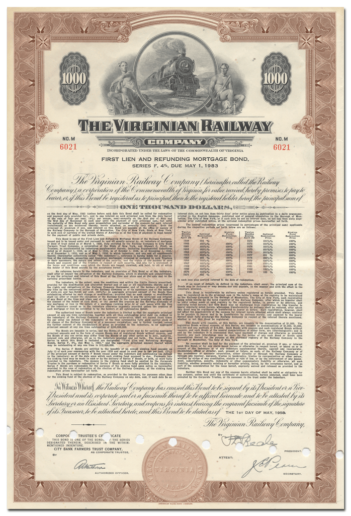 Virginia Railway Company Bond Certificate