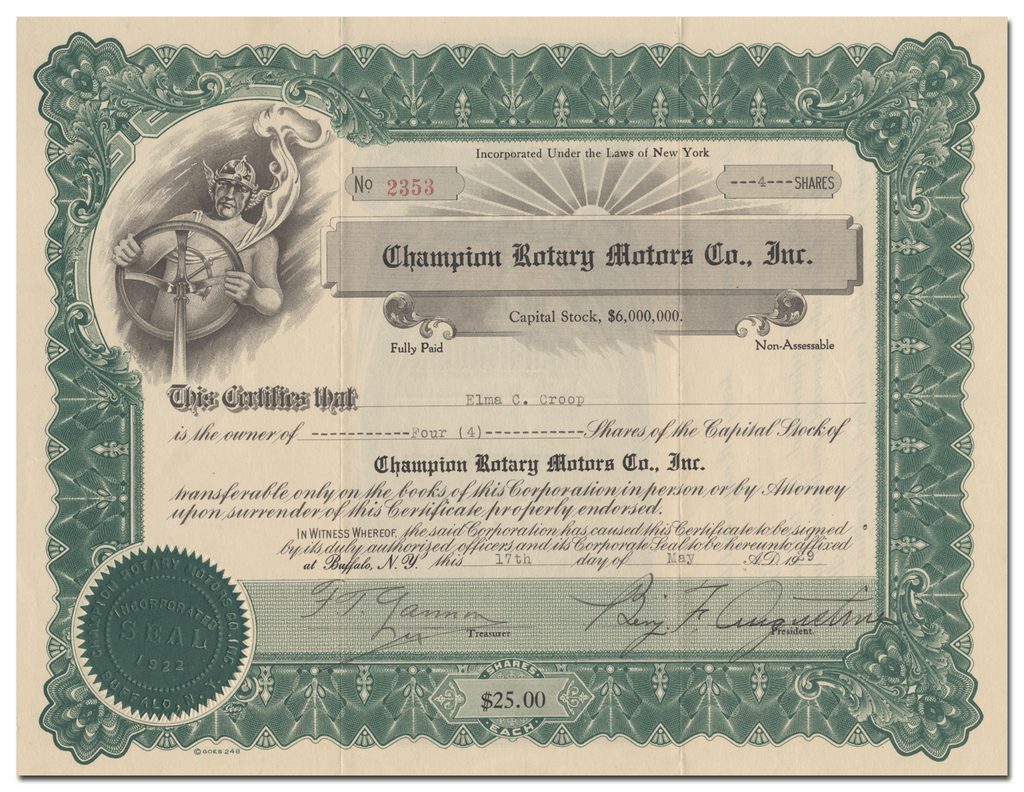 Champion Rotary Motors Co., Inc. Stock Certificate