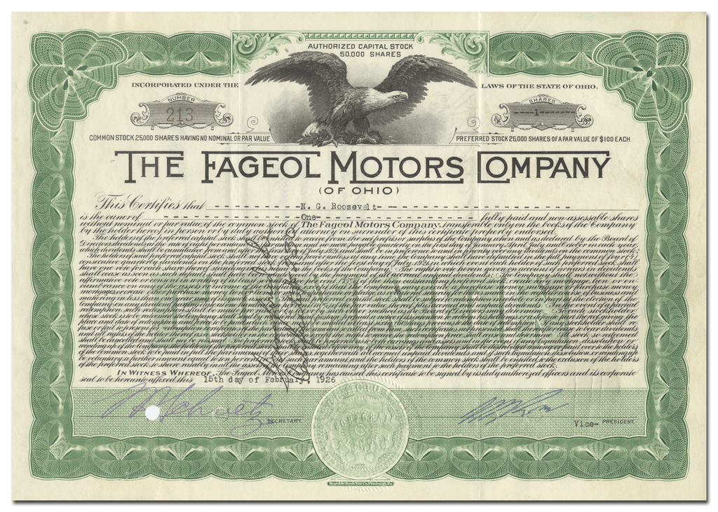 Fageol Motors Company of Ohio Stock Certificate