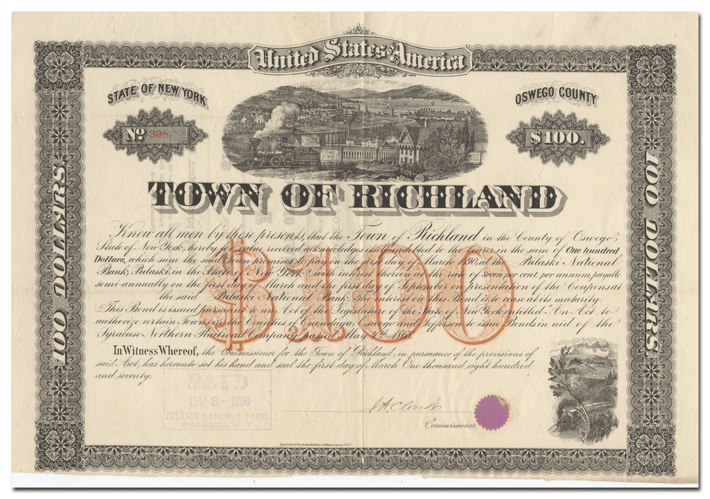 Richland, New York Bond Certificate in Aid of the Syracuse Northern Railroad Company