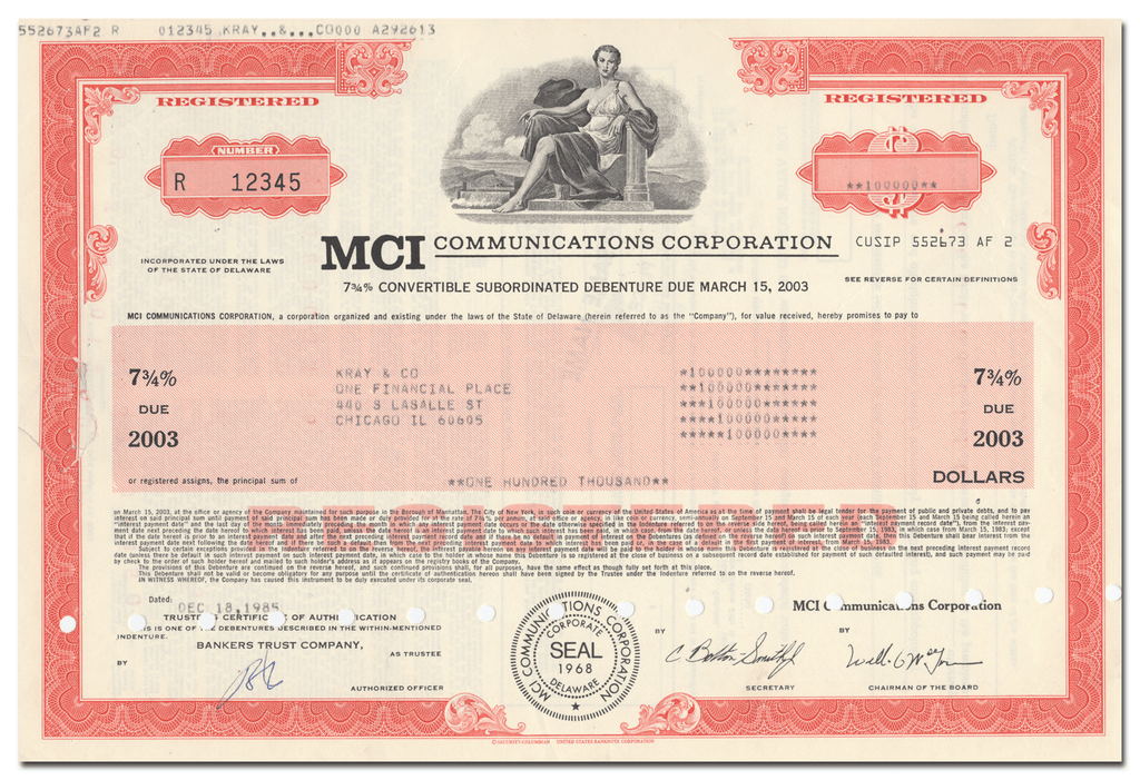 MCI Communications Corporation Bond Certificate