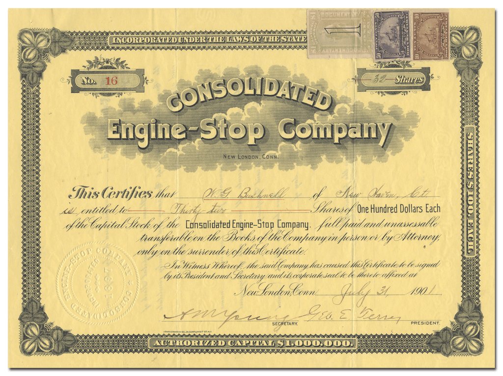 Consolidated Engine-Stop Company Stock Certificate