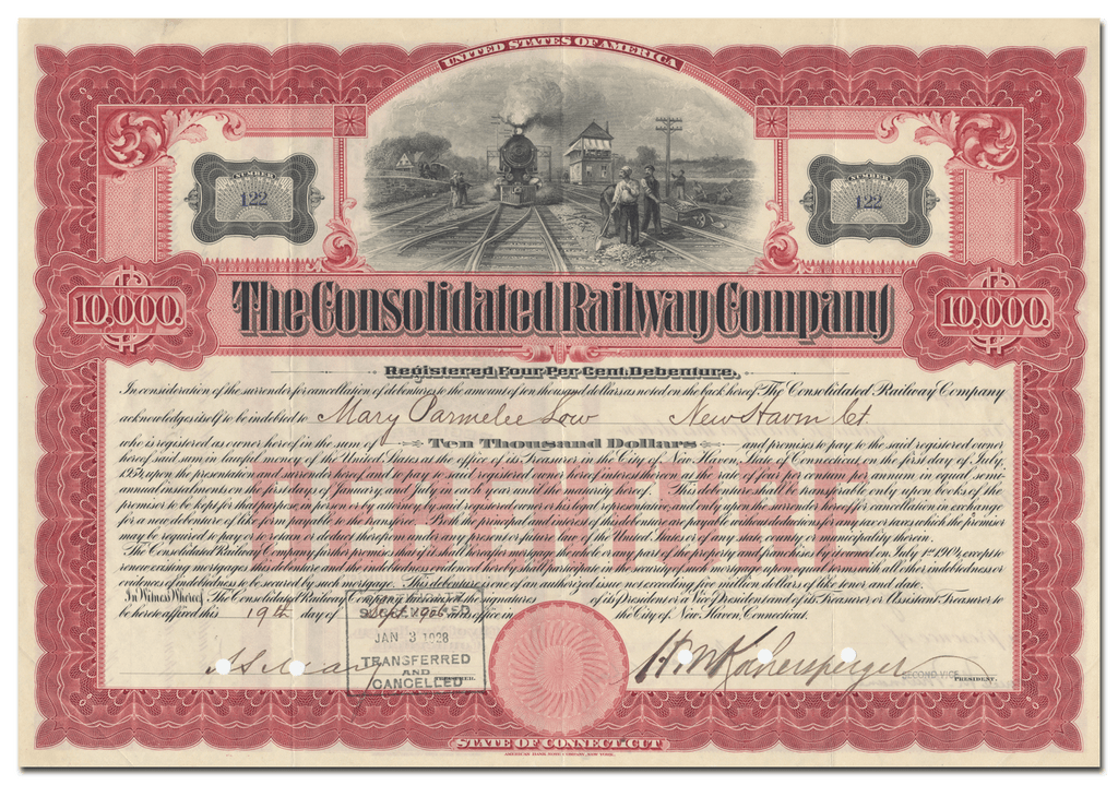 Consolidated Railway Company Bond Certificate