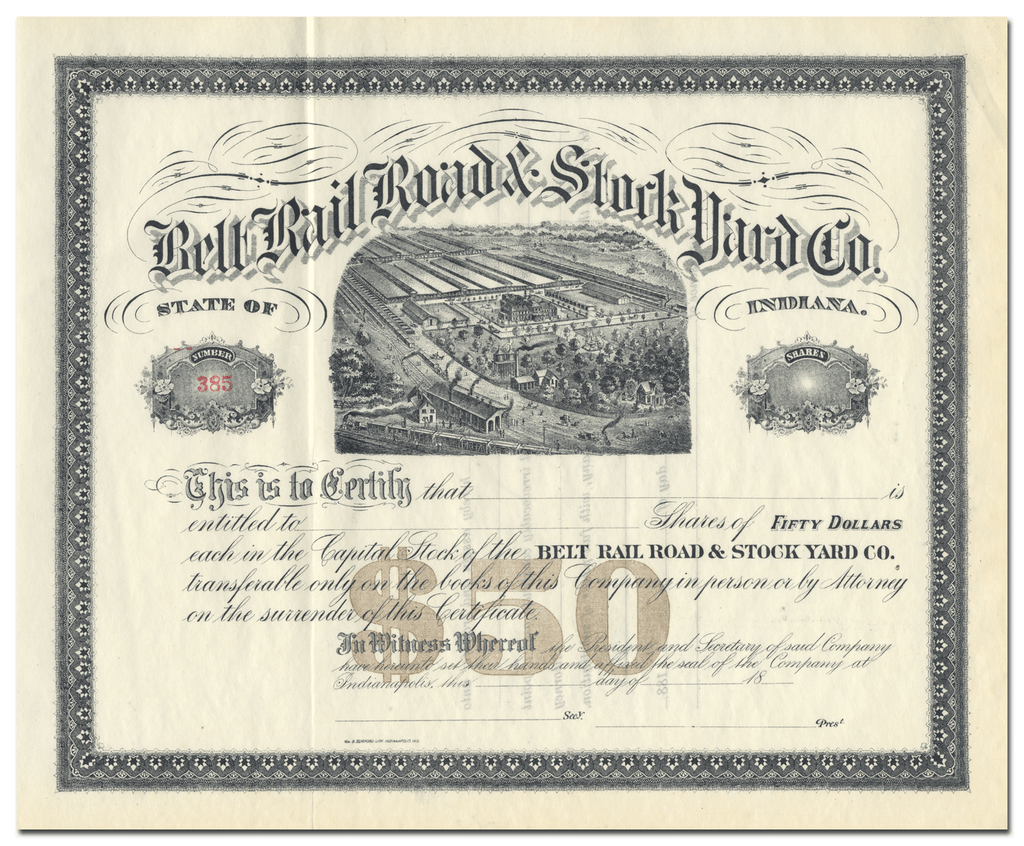 Belt Rail Road and Stock Yards Co. Stock Certificate