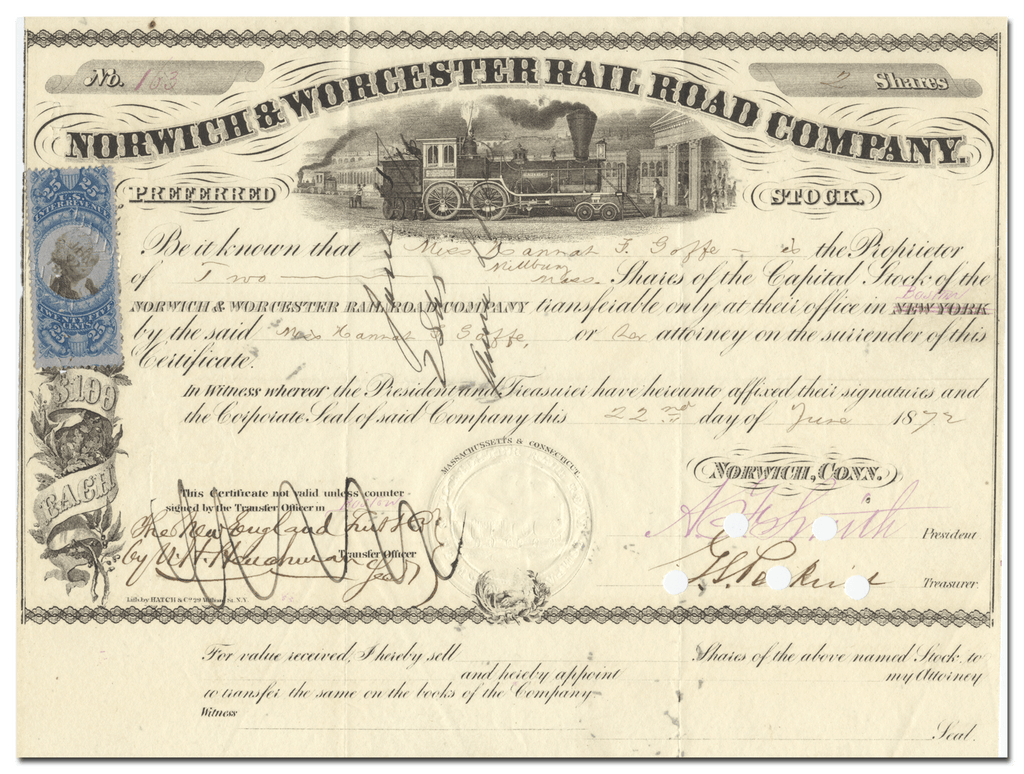 Norwich & Worcester Rail Road Company Stock Certificate
