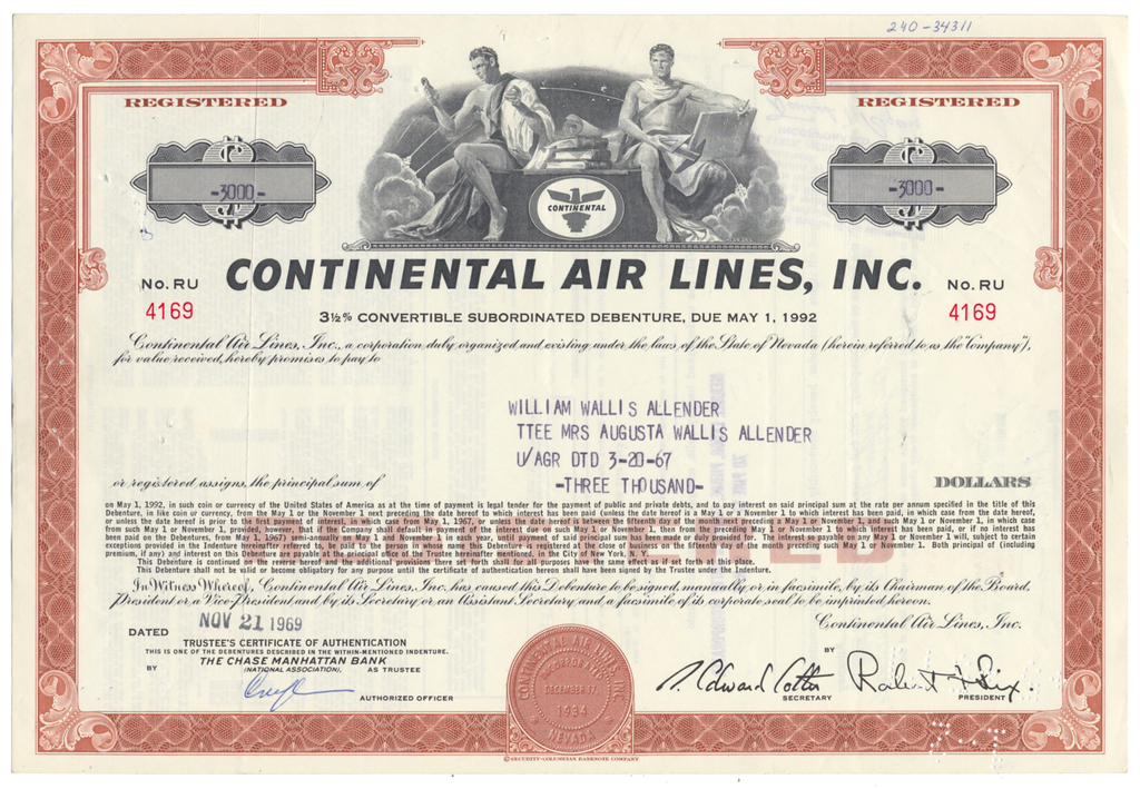 Continental Air Lines, Inc. Bond Certificate