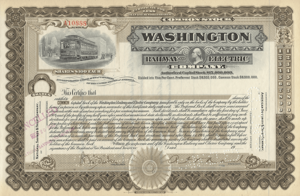 Washington Railway and Electric Company Stock Certificate