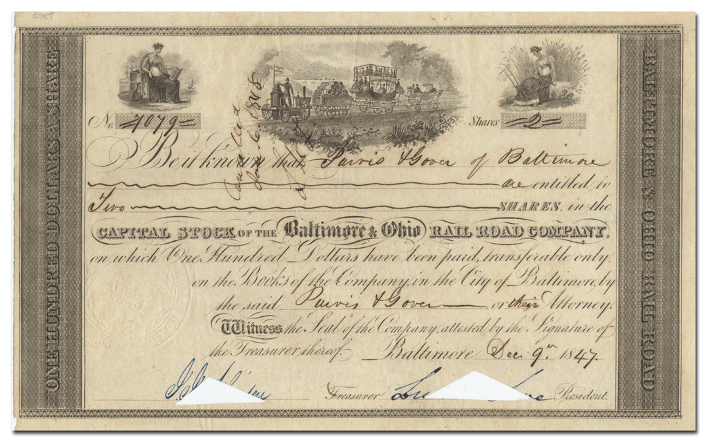 Baltimore & Ohio Rail Road Company Stock Certificate