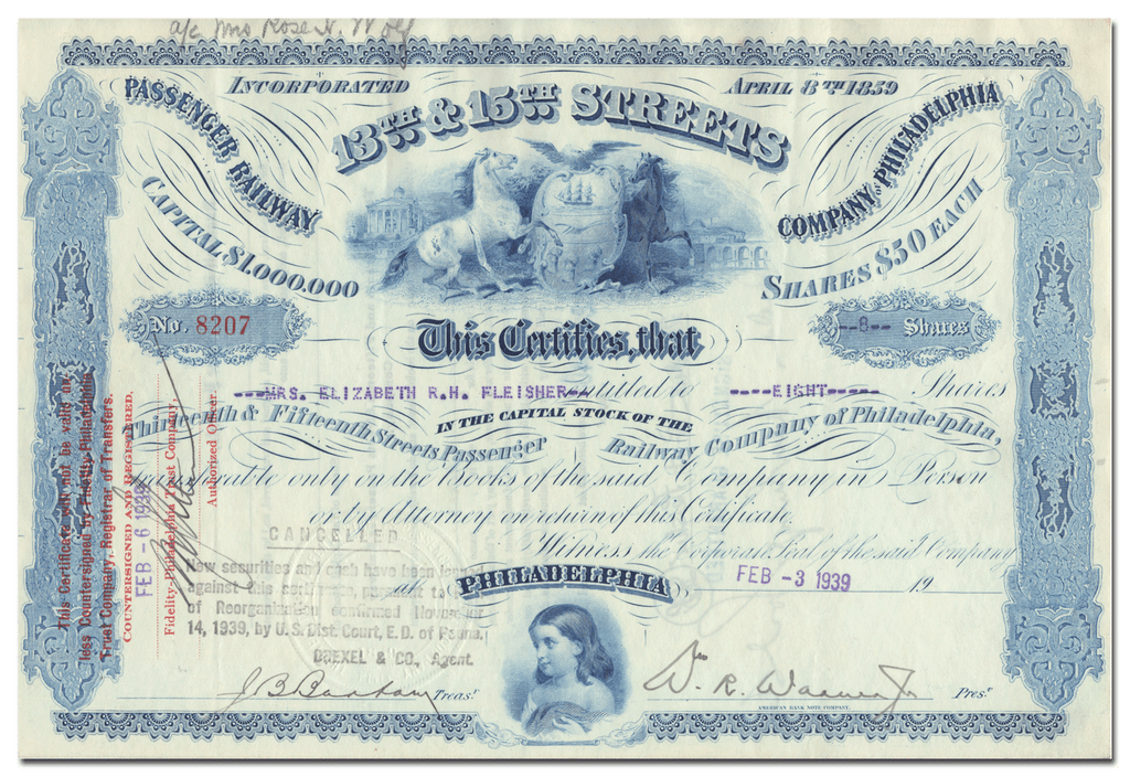 13th & 15th Streets Passenger Railway Company of Philadelphia Stock Certificate
