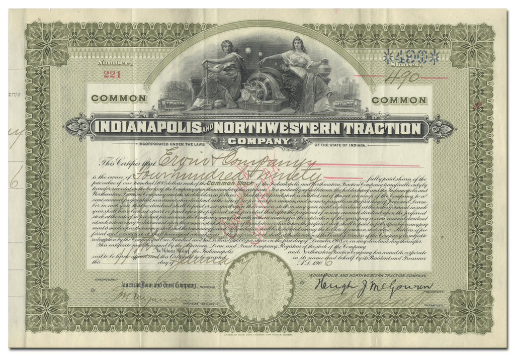 Indianapolis and Northwestern Traction Company Stock Certificate