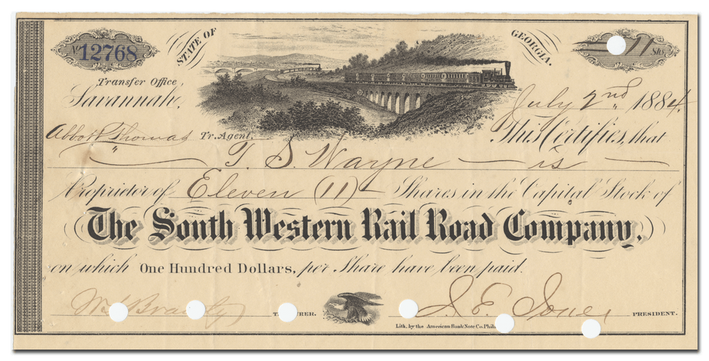 South Western Rail Road Company Stock Certificate