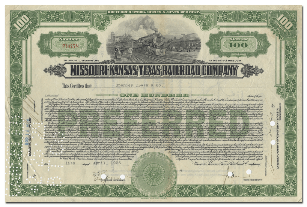 Missouri-Kansas-Texas Railroad Company Stock Certificate