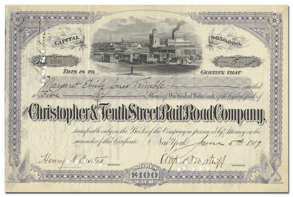 Christopher & Tenth Street Rail Road Company Stock Certificate