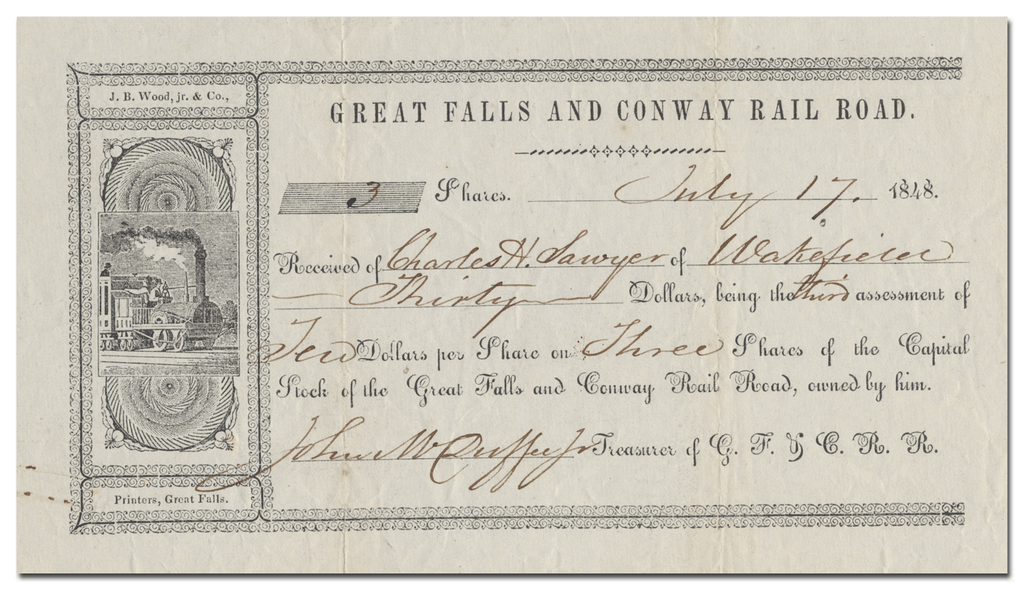 Great Falls and Conway Rail Road Stock Certificate
