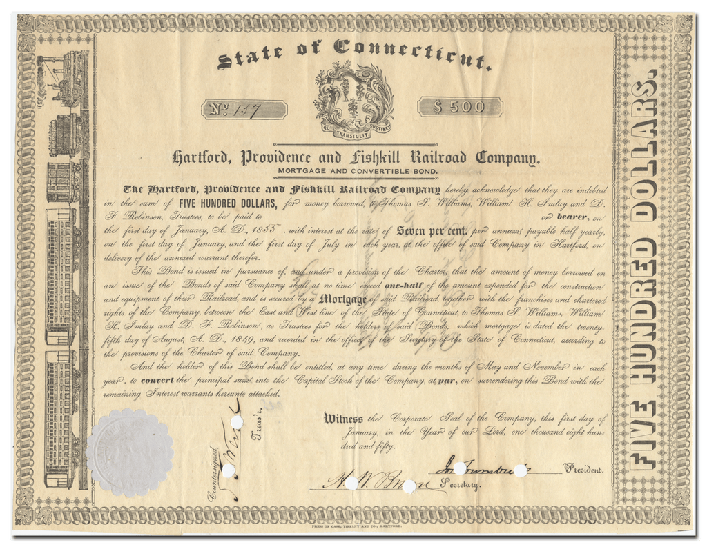 Hartford, Providence and Fishkill Railroad Company Bond Certificate
