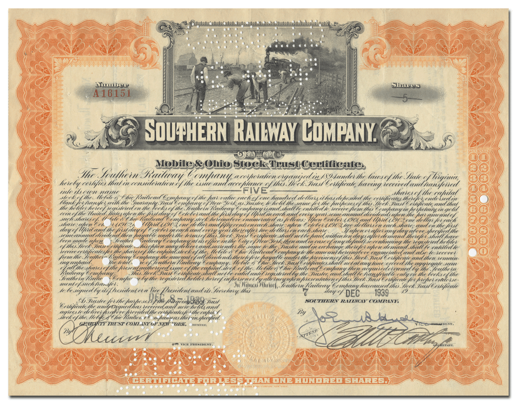 Southern Railway Company (Mobile & Ohio) Stock Trust Certifiacte