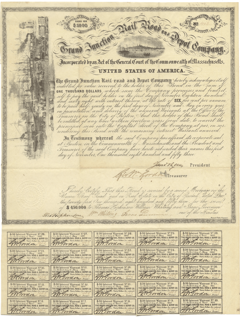 Grand Junction Rail Road and Depot Company Bond Certificate