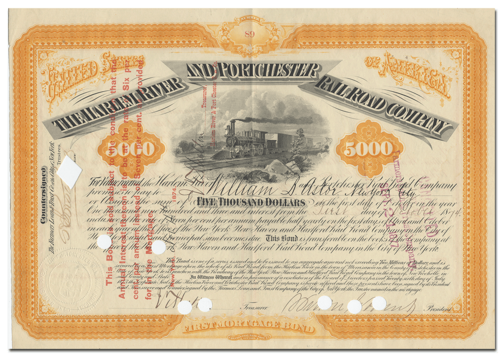 Harlem River and Portchester Railroad Company Bond Certificate Issued to William B. Astor