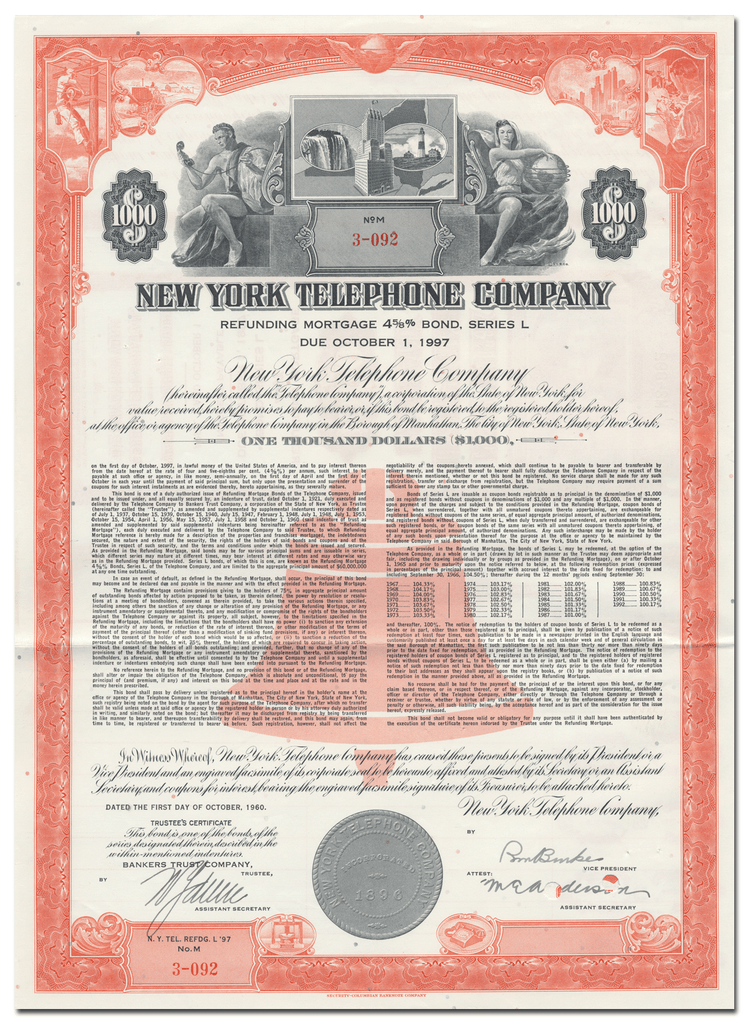 New York Telephone Company Bond Certificate