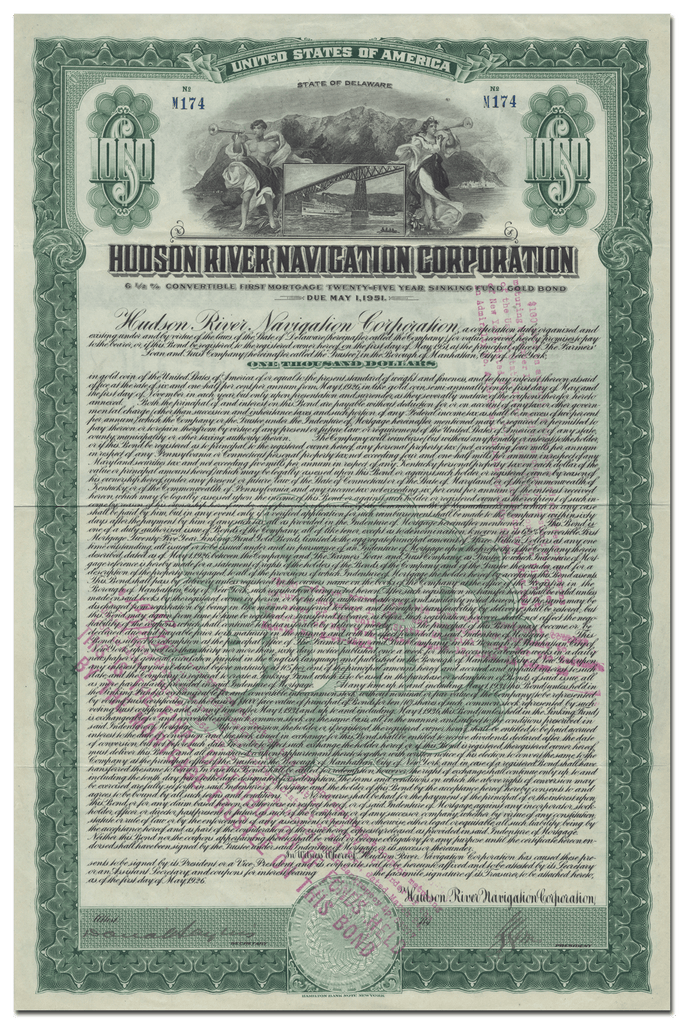 Hudson River Navigation Corporation Bond Certificate