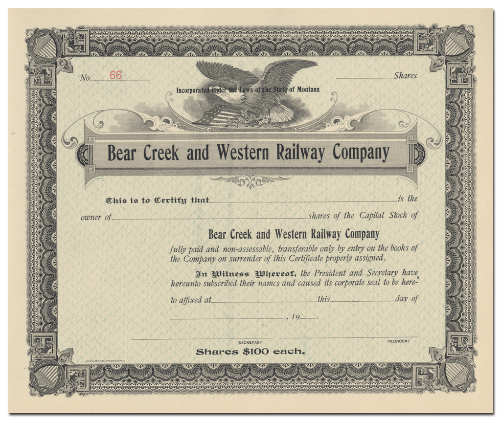 Bear Creek and Western Railway Company Stock Certificate