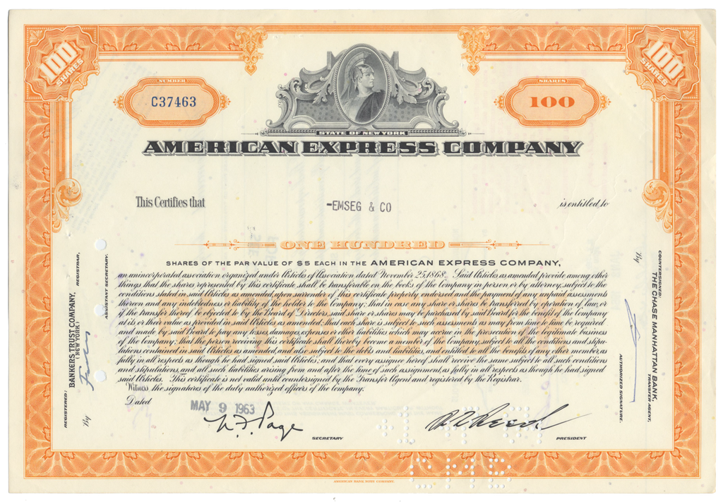 American Express Company Stock Certificate