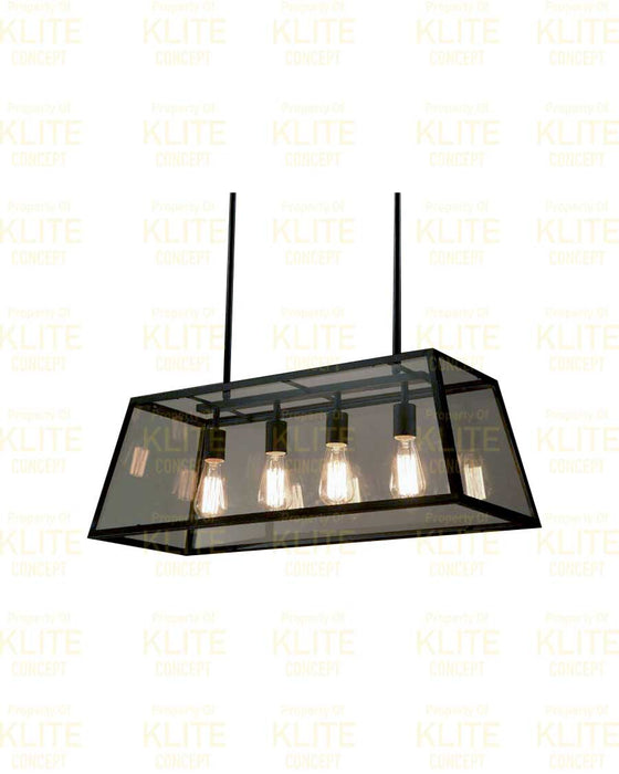 Industrial Black Glass Hanging Light
