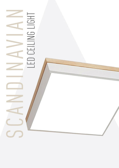 Solid Wood Scandinavian Square Ceiling Light