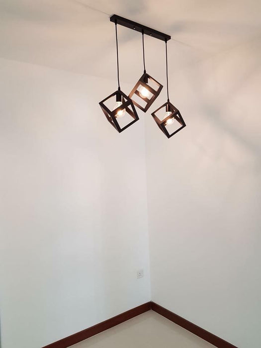 Cube Industrial Hanging Light in set of 3