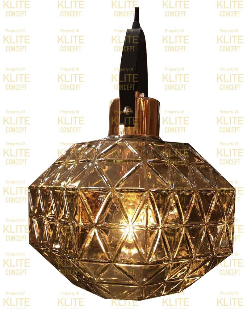 Brass Glass Hanging Light