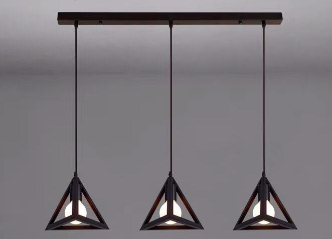 Triangle Industrial Hanging Light in set of 3