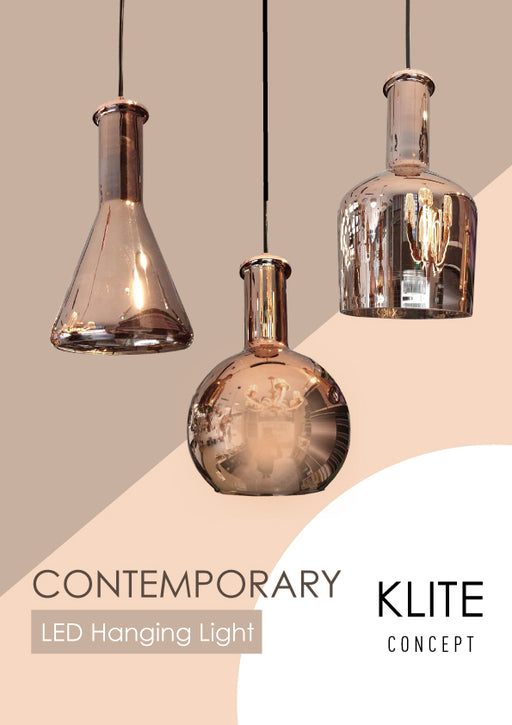 Bottle RoseGold Glass Hanging Light