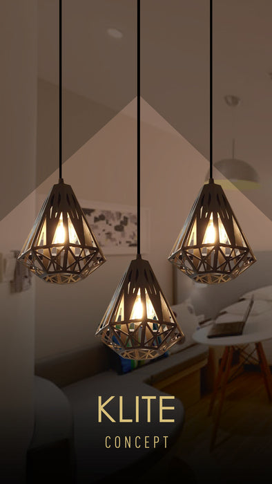 Laser Cut Triangle Hanging Light in set of 3