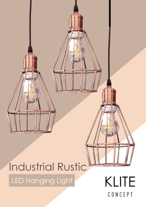 Rustic Cage Rosegold Hanging Light