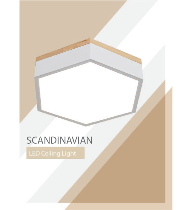 Solid Wood Pentagon Scandinavian Ceiling Light