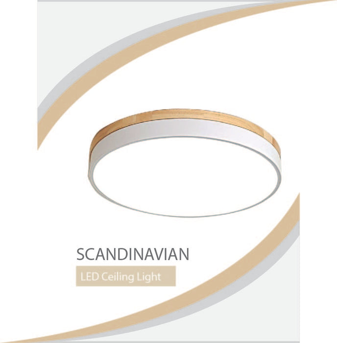 Solid Wood Scandinavian Round Ceiling Light