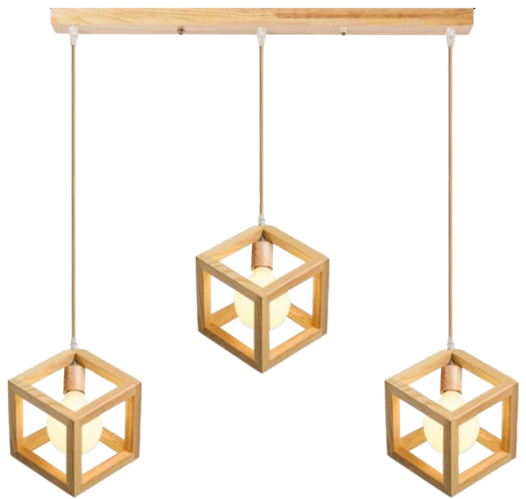 Solid Wood Cube Hanging Light in set of 3