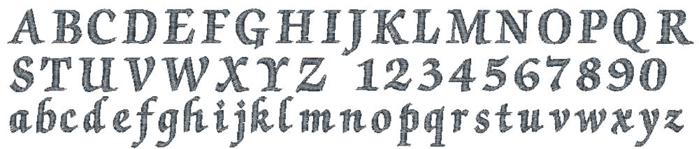 Gregory embroidery font
