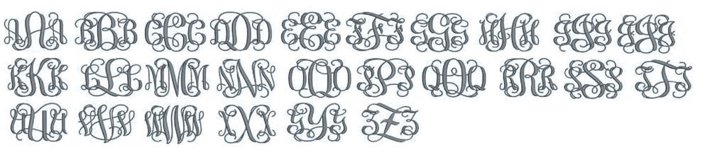 Interlaced embroidery font