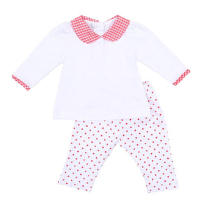 Magnolia Baby Gingham Dot Holiday Collared Ruffle 2 pc Set