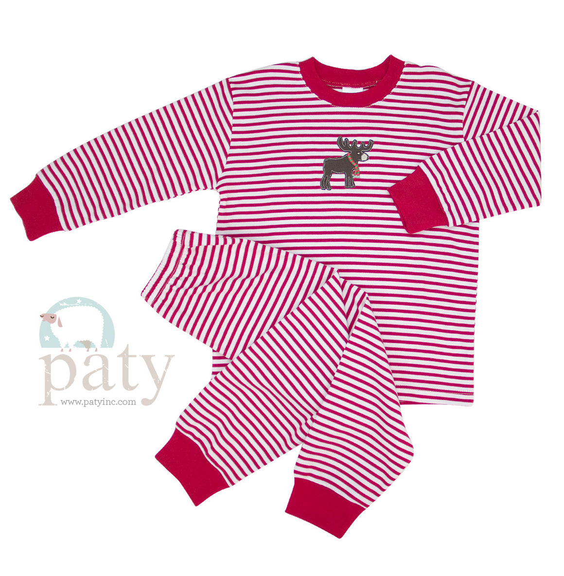 Paty Stripe PJs with Moose Embroidery