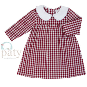 Red Gingham Dress with Collar