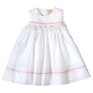 Rosalina Amelia White Sundress with Pink English Smocking and RicRac