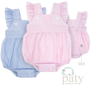 Paty Seersucker Angel Sleeve Onesie - Pink