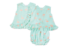 Angel Dear Flamingo Ruffle Back Top & Bloomers