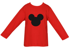 Claire & Charlie Mickey Mouse Ears Applique Shirt