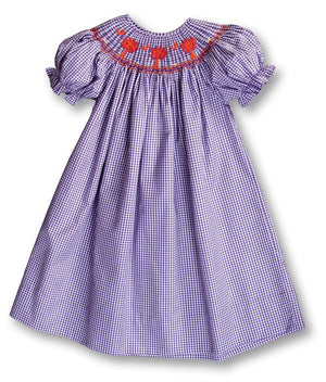 Rosalina Palmetto Purple Gingham Smocked Bishop Dress