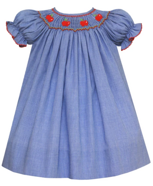Petit Bebe Smocked Apples Bishop Dress